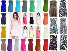 New Womens Plain Boobtube Sheering Bandeau Shirred Top Mini Dress Plus Size 8-22