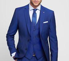 Abito Digel Blu Royal Slim Fit completo di Gilet fresco Lana Italiana Marzotto