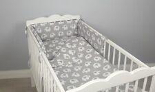 COT BED BEDDING SET 2 ,3, 4 pcs pc elephants COTTON padded bumper pillowcase
