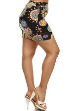 Womens Black Geometric Print Mini Skirt One Size Fit  XL,1X,2X & (14W,16W,18W)