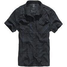 Brandit Roadstar Hombre Comprobado Franela Algodón Camisa Manga Corta Negro Azul