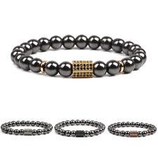 Hematite Bracelets Charm Jewelry Gift Men's Luxury Cz Zirconia Hexagon Magnetic