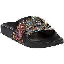 New Womens Steve Madden Black Word Slipper Satin Sandals Flats Slip On