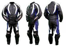Kc202 Combinaison moto KARNO cuir bleu BLUE-STORM RACE - 2 parties