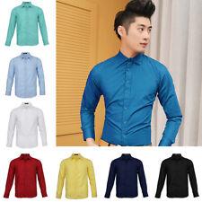 Men's Long Sleeve Shirt Business Work Smart Formal Casual Plain Dress Shirts
