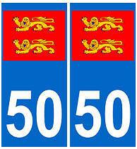 stickers autocollants plaques immatriculation auto Département 50 normandie