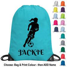 Personalised Girl Football Bag Drawstring PE Kit Gym School Sports Kids Team