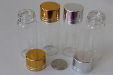 Viales de Botellas de Vidrio Transparente Pequeño 22x60mm con tapa de rosca Cap-Oro o Plata Top