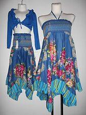 Neu Rock Kleid 92 - 164 blau türkis bunt Girl Lagenlook Blumen gesmokt Zipfel