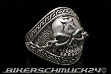 Totenkopfring Eisernes Kreuz Skull mit Ketten 925 Silber Bikerschmuck Geschenk