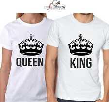 Coppia T-shirt king queen maglia bianche/nere regalo amore coppia love