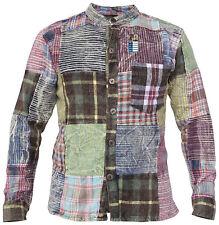 Camisa Invierno Con Botones Sin Cuello Informal Patchwork Abuelo Suéter Hippy