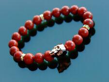 Men's Red Jasper Skull Bracelet with Swarovski Gold Crystal 6-9inch Elasticated