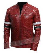 Men's Genuine Lambskin Leather Jacket Motorcycle Retro Biker Leather Jacket