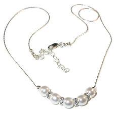 WHITE Pearl Necklace Confirmation Bride Sterling Silver Swarovski Elements