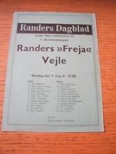 07/05/1972 Randers Freja v Vejle Boldklub  (Single Sheet). No obvious faults, un