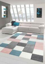 Alfombra de salón de diseño con estampado de cuadros en gris turquesa rosa