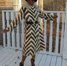 Mint Unique Full length White &brown Mink & fox fur Coat jacket stroller S-M 2-9