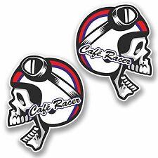 2 x 10cm Cafe Racer Vinyl Sticker Skull Tool Box Motorcycle Bike Biker #9761