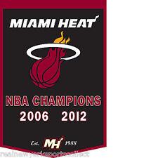 2012 MIAMI HEAT NBA CHAMPIONS DYNASTY WOOL BANNER LEBRON WADE BOSH