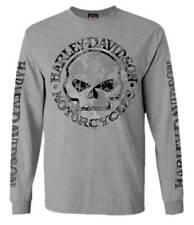 Harley-Davidson Men's Shirt, Willie G Skull Long Sleeve Tee, Gray 30296651