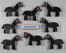 Lego - Black Horses Lot Animal Stable Farm Castle Kingdom Knight City Army Bulk