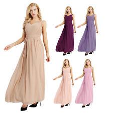 Damen Ärmellos Elegant Chiffon Kleid Lang Brautjungfern Abend Ball Party Kleider