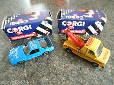 CORGI FORD wrecker truck & PONTIAC FIREBIRD tant boxed menthe 1980's