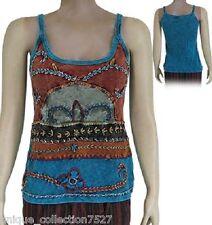 UC-38 100% Cotton Patched Hippi Boho Stone Washed Women's Tank Top Vest Dress