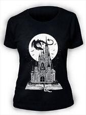 Fairy Tail Book T-Shirt Womens Ladies Story Dragon Castle Fantasy Moon Stars