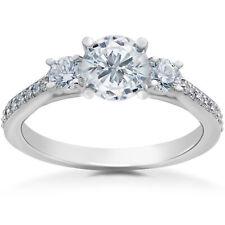 1 ct Round Diamond 3-Stone Lab Grown Eco Friendly Engagement Ring 14k White Gold
