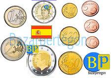 ESPAÑA  EUROS  años y valores  Spanien Kursmünze  2,1,50,20,10,5, centimos euro