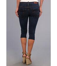 NEW $188 TRUE RELIGION Jeans Tawny Crop Capri Lowrise Skinny Rich Blue Denims