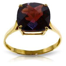 Genuine Garnet Cushion Cut Gemstone Solitaire Ring 14K. Yellow, White, Rose Gold
