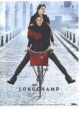 """PUBLICITE ADVERTISING 2012   LONCHAMP sac besaces cabas """" en vélo"""""""