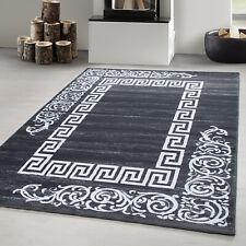 Teppich modern Designer Wohnzimmer Versace Muster Barock Motiv Grau Weiß