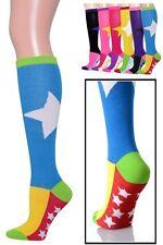 Womens Knee High Socks Colorful Long Tube Fashion New Ladies Star