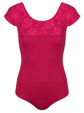 Black | Pink Tactel & Lace Cap Sleeve Ballet Dance Leotard Ladies - DL009