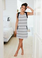 Ladies Luxury Loungewear Dress 'Riviera' Black & White Geo Print Dress