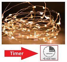 LED Drahtlichterkette Timer warmweiß Micro Draht Lichterkette Dekobeleuchtung