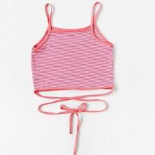 Ladies Women Crop Top Cami Vest Bralet Mini Tank T-Shirt Rose Embroidery Y