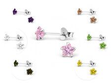 Girls Ladies Sterling Silver 4mm Cubic Zirconia Star Stud Earrings - Boxed