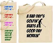 """Un cattivo giorni golfin """"Grandi Cotone Tote SHOPPING DA GOLF BORSA TELA ECO regalo GOLFISTA"""