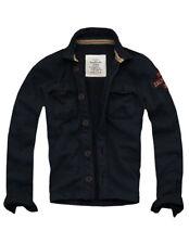 Mens Cali Holi Muscle Fit Fleece-lined Sweatshirt Button-down Jacket Navy 151047