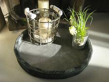 Shabby Tablett Holztabelett für Deko Geschenk Tablett Landhaus Vintage grau rund
