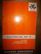 Massey Ferguson faucheuse MF 73 : notice entretien 1965