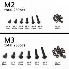 250pcs Assortment Kit Metric Thread M3 Button Head Hex Socket Cap Screw Bolt Nut