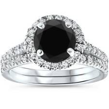 2 1/2 cttw Black Diamond Halo Engagement Wedding Ring Set White Gold Treated