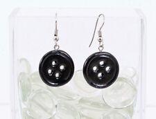 Coraline Black Button Earrings - Halloween Cosplay Handmade Polymer Clay