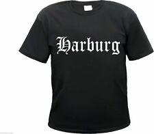 HARBURG T-Shirt - Altdeutsch - Größe S bis 3XL - Schwarz/Weiss -  t-hemd hamburg